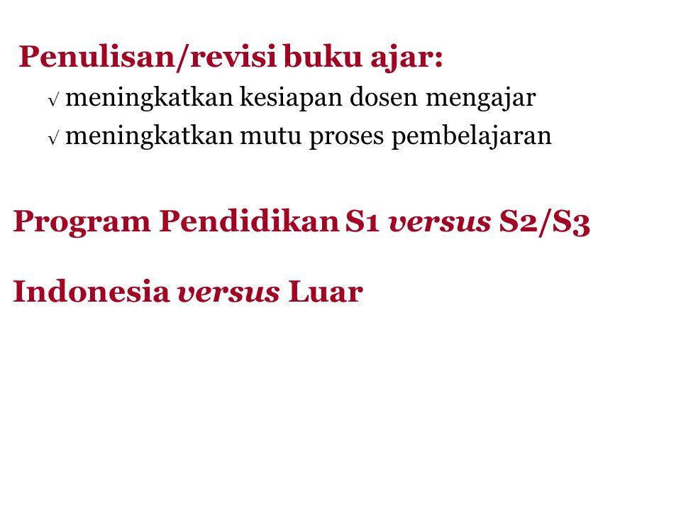 Penulisan/revisi buku ajar: √ meningkatkan kesiapan dosen mengajar √ meningkatkan mutu proses pembelajaran Program Pendidikan S1 versus S2/S3 Indonesia versus Luar