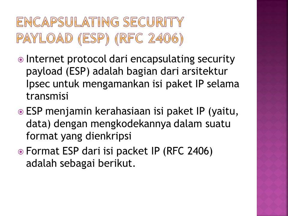  Internet protocol dari encapsulating security payload (ESP) adalah bagian dari arsitektur Ipsec untuk mengamankan isi paket IP selama transmisi  ESP menjamin kerahasiaan isi paket IP (yaitu, data) dengan mengkodekannya dalam suatu format yang dienkripsi  Format ESP dari isi packet IP (RFC 2406) adalah sebagai berikut.