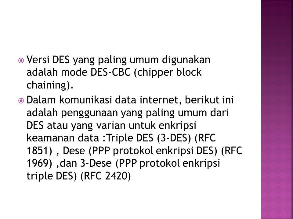  Versi DES yang paling umum digunakan adalah mode DES-CBC (chipper block chaining).