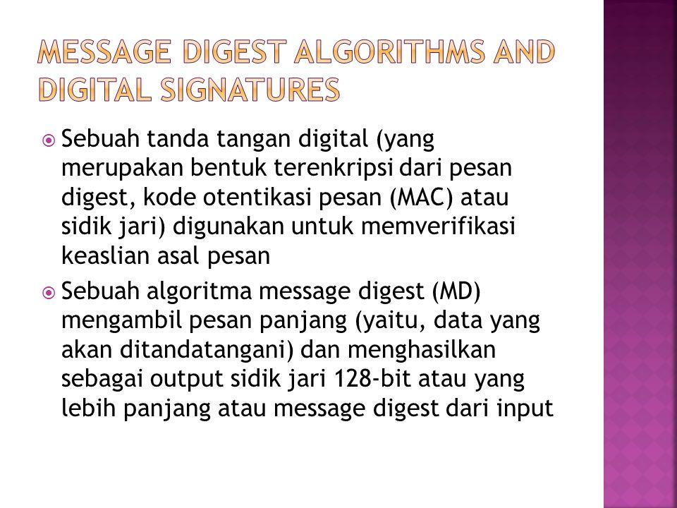  Sebuah tanda tangan digital (yang merupakan bentuk terenkripsi dari pesan digest, kode otentikasi pesan (MAC) atau sidik jari) digunakan untuk memverifikasi keaslian asal pesan  Sebuah algoritma message digest (MD) mengambil pesan panjang (yaitu, data yang akan ditandatangani) dan menghasilkan sebagai output sidik jari 128-bit atau yang lebih panjang atau message digest dari input