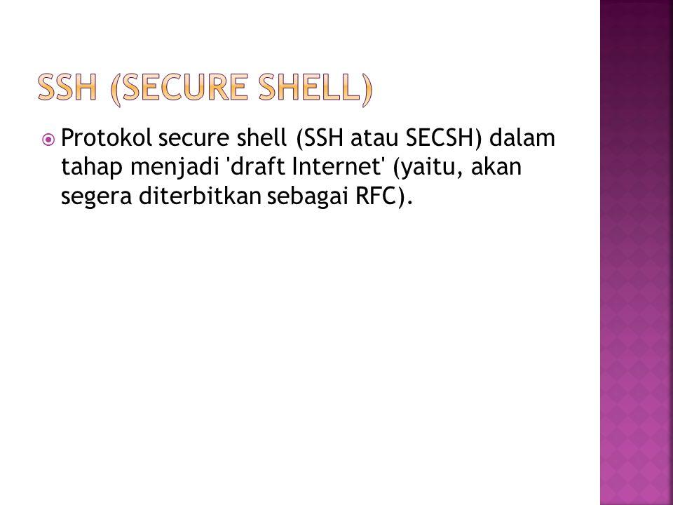  Protokol secure shell (SSH atau SECSH) dalam tahap menjadi draft Internet (yaitu, akan segera diterbitkan sebagai RFC).