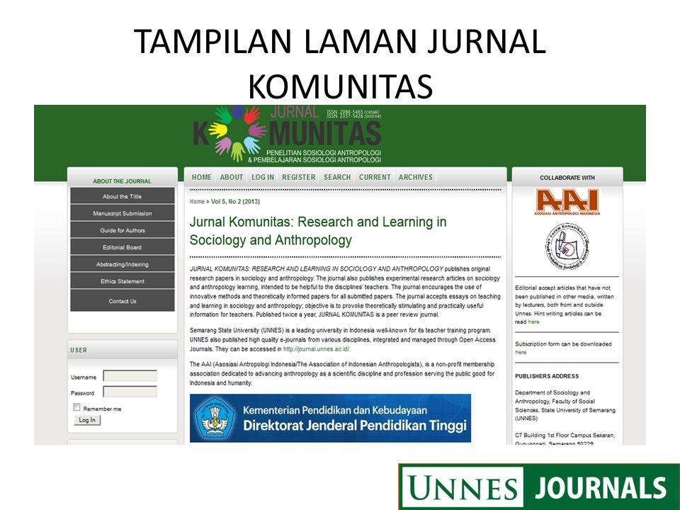 TAMPILAN LAMAN JURNAL KOMUNITAS