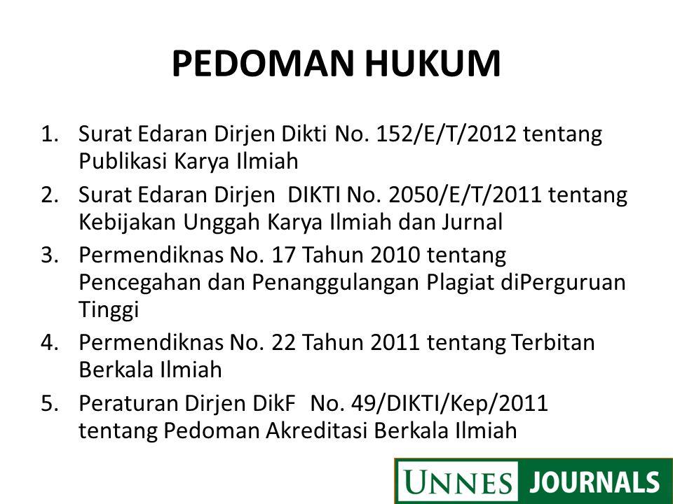 PEDOMAN HUKUM 1.Surat Edaran Dirjen Dikti No. 152/E/T/2012 tentang Publikasi Karya Ilmiah 2.Surat Edaran Dirjen DIKTI No. 2050/E/T/2011 tentang Kebija