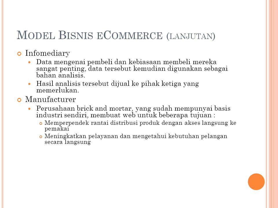 M ODEL B ISNIS E C OMMERCE ( LANJUTAN ) Infomediary Data mengenai pembeli dan kebiasaan membeli mereka sangat penting, data tersebut kemudian digunakan sebagai bahan analisis.