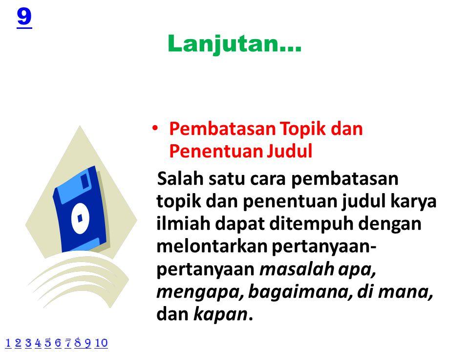 Contoh judul karya ilmiah 1.Inseminasi Buatan di Peternakan Sapi Tapos, Jawa Barat.