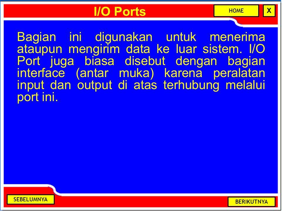 I/O Ports Bagian ini digunakan untuk menerima ataupun mengirim data ke luar sistem. I/O Port juga biasa disebut dengan bagian interface (antar muka) k
