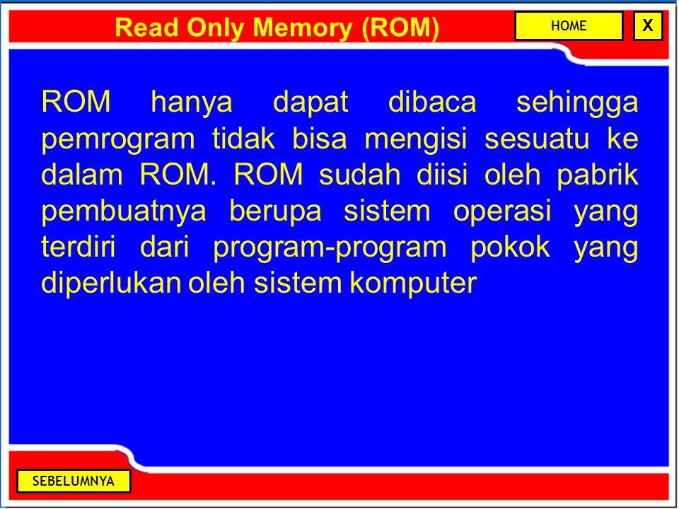 Read Only Memory (ROM) ROM hanya dapat dibaca sehingga pemrogram tidak bisa mengisi sesuatu ke dalam ROM. ROM sudah diisi oleh pabrik pembuatnya berup