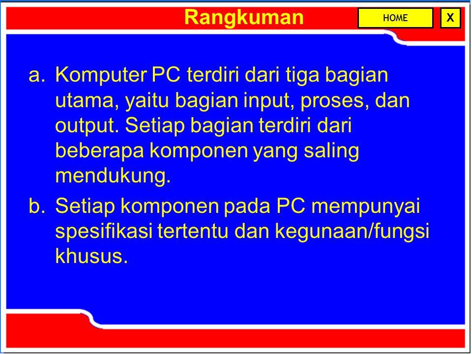 Rangkuman a.Komputer PC terdiri dari tiga bagian utama, yaitu bagian input, proses, dan output. Setiap bagian terdiri dari beberapa komponen yang sali