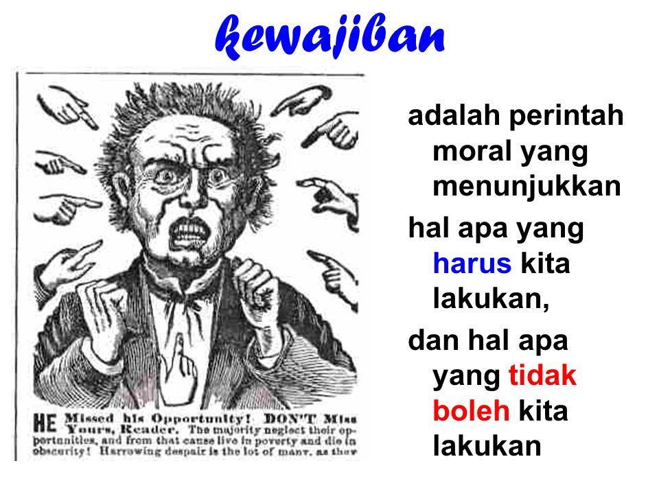 kewajiban adalah perintah moral yang menunjukkan hal apa yang harus kita lakukan, dan hal apa yang tidak boleh kita lakukan