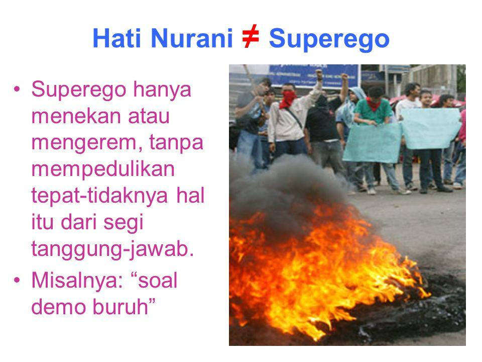 """Hati Nurani ≠ Superego Superego hanya menekan atau mengerem, tanpa mempedulikan tepat-tidaknya hal itu dari segi tanggung-jawab. Misalnya: """"soal demo"""