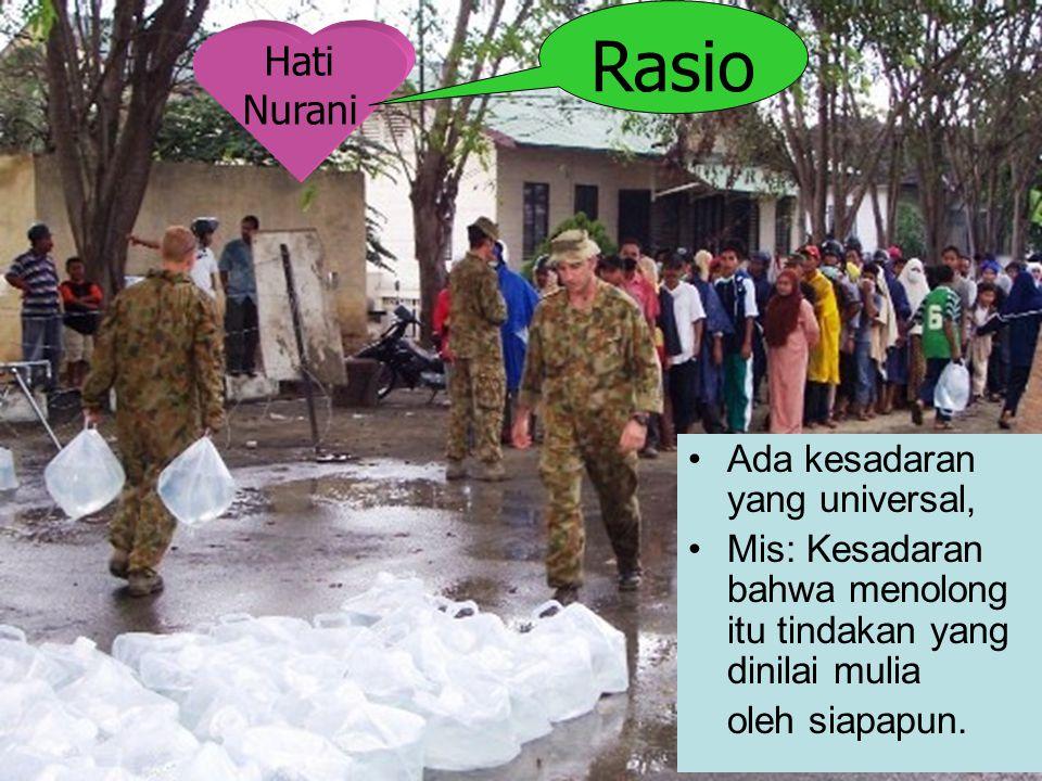 Hati Nurani Rasio Ada kesadaran yang universal, Mis: Kesadaran bahwa menolong itu tindakan yang dinilai mulia oleh siapapun.
