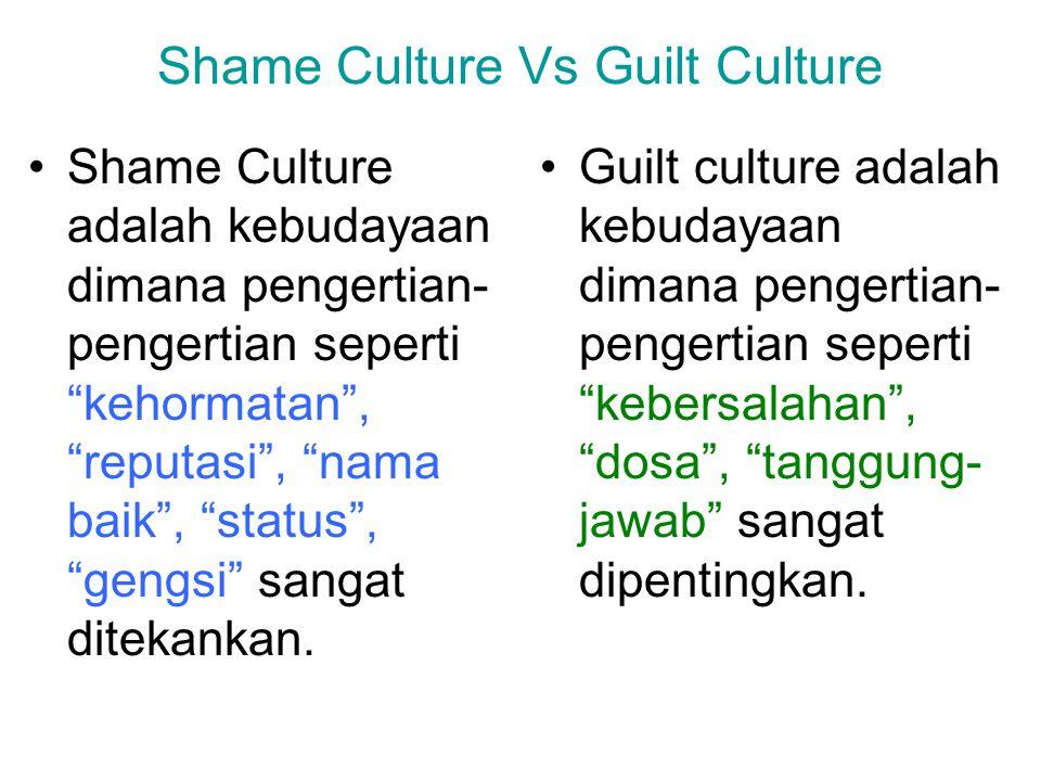 """Shame Culture Vs Guilt Culture Shame Culture adalah kebudayaan dimana pengertian- pengertian seperti """"kehormatan"""", """"reputasi"""", """"nama baik"""", """"status"""","""