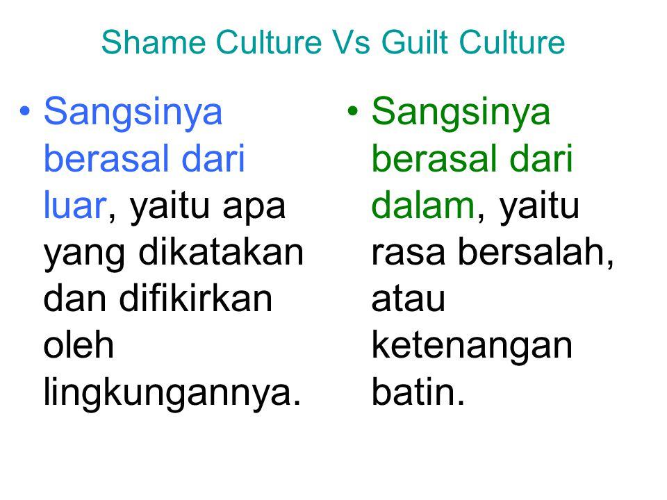 Shame Culture Vs Guilt Culture Sangsinya berasal dari luar, yaitu apa yang dikatakan dan difikirkan oleh lingkungannya. Sangsinya berasal dari dalam,