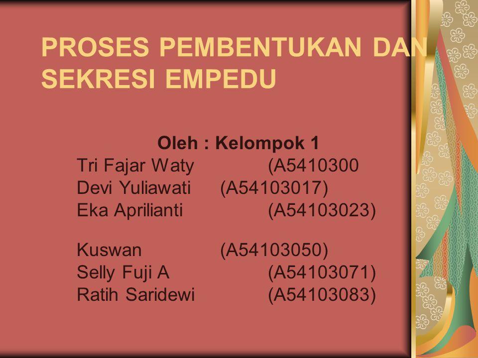 PROSES PEMBENTUKAN DAN SEKRESI EMPEDU Oleh : Kelompok 1 Tri Fajar Waty(A5410300 Devi Yuliawati(A54103017) Eka Aprilianti (A54103023) Kuswan(A54103050)