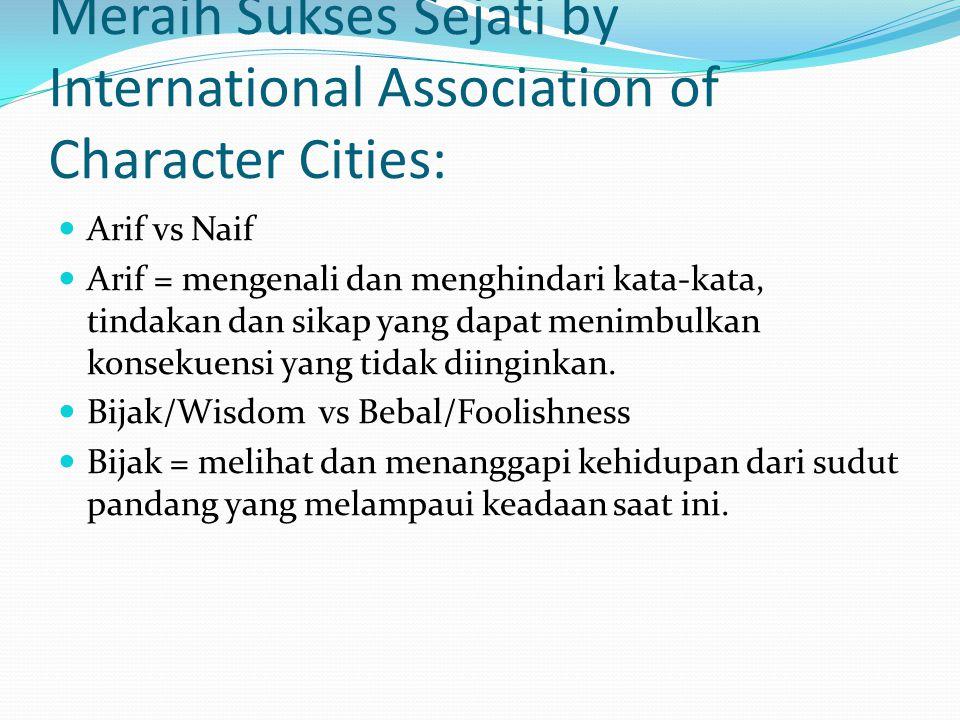 Meraih Sukses Sejati by International Association of Character Cities: Arif vs Naif Arif = mengenali dan menghindari kata-kata, tindakan dan sikap yang dapat menimbulkan konsekuensi yang tidak diinginkan.