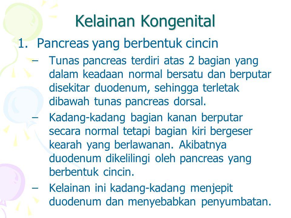 Kelainan Kongenital 1.Pancreas yang berbentuk cincin –Tunas pancreas terdiri atas 2 bagian yang dalam keadaan normal bersatu dan berputar disekitar du