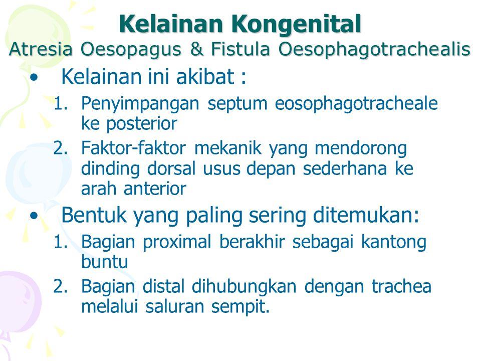 Kelainan Kongenital Kelainan ini akibat : 1.Penyimpangan septum eosophagotracheale ke posterior 2.Faktor-faktor mekanik yang mendorong dinding dorsal