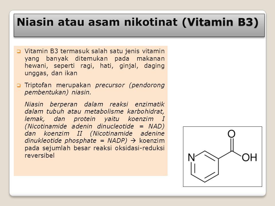 Vitamin B3) Niasin atau asam nikotinat (Vitamin B3)  Vitamin B3 termasuk salah satu jenis vitamin yang banyak ditemukan pada makanan hewani, seperti