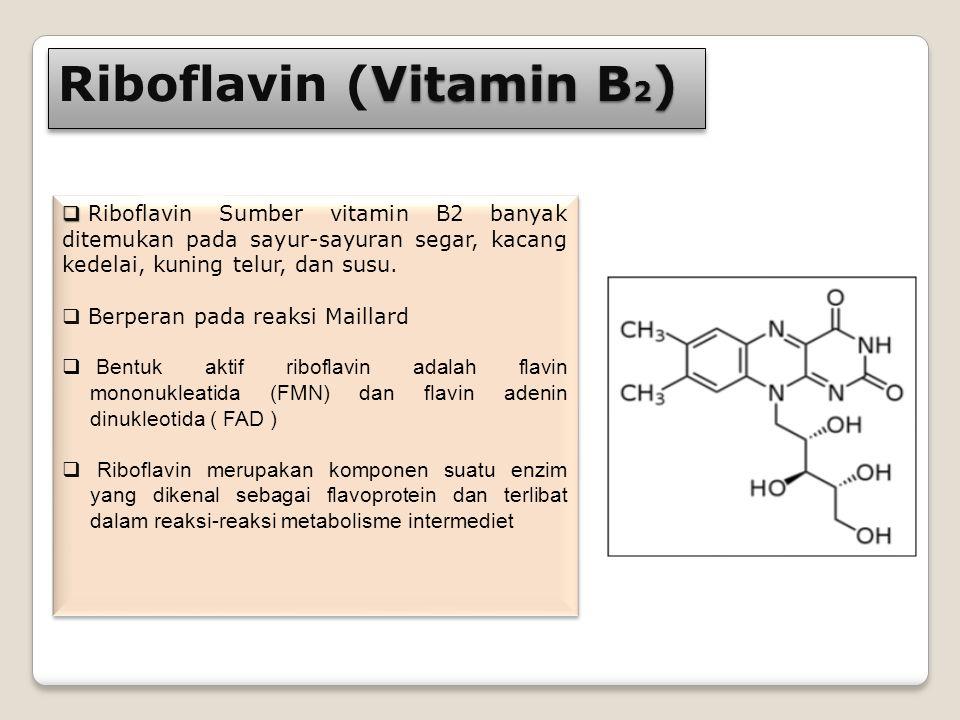 Vitamin B 2 ) Riboflavin (Vitamin B 2 )   Riboflavin Sumber vitamin B2 banyak ditemukan pada sayur-sayuran segar, kacang kedelai, kuning telur, dan