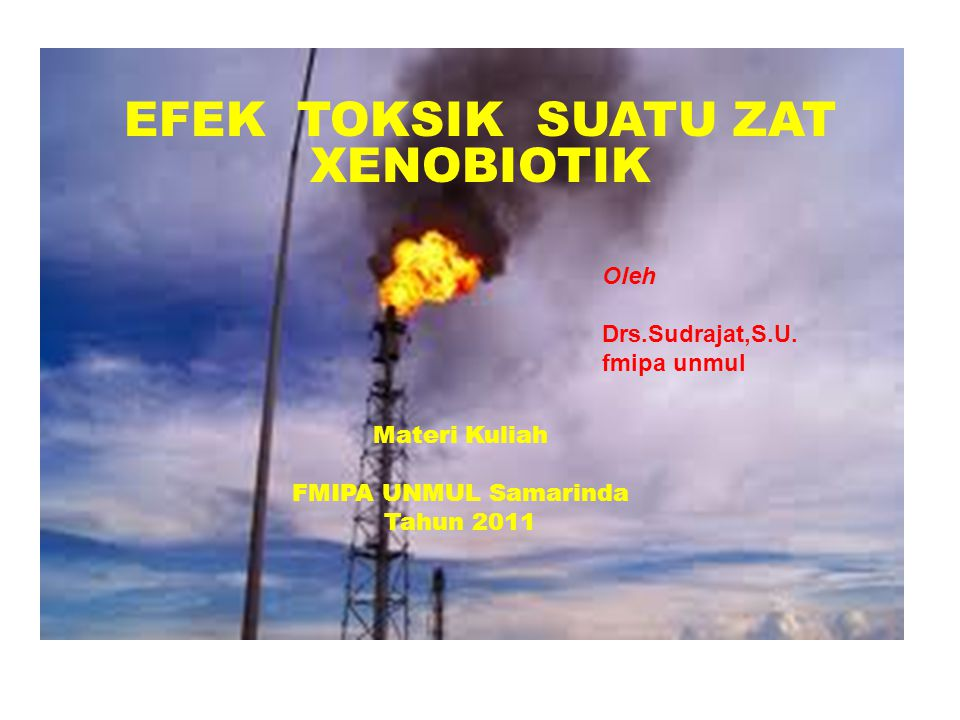 EFEK TOKSIK SUATU ZAT XENOBIOTIK Materi Kuliah FMIPA UNMUL Samarinda Tahun 2011 Oleh Drs.Sudrajat,S.U. fmipa unmul