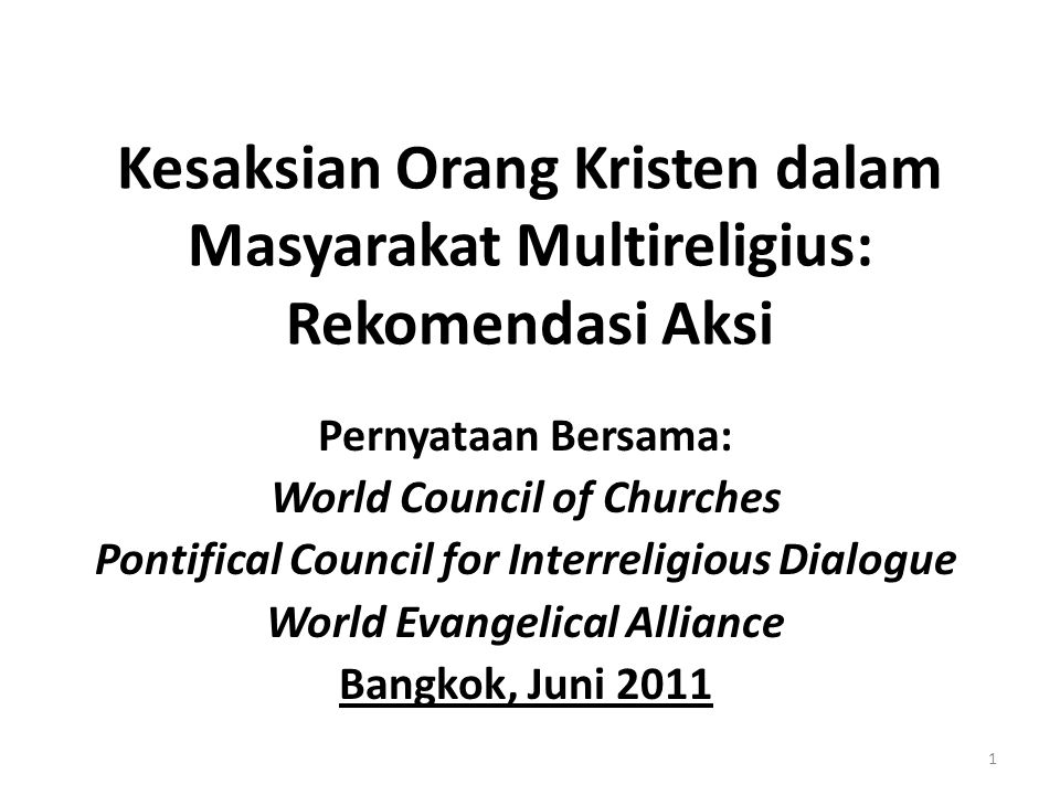 Kesaksian Orang Kristen dalam Masyarakat Multireligius: Rekomendasi Aksi Pernyataan Bersama: World Council of Churches Pontifical Council for Interrel