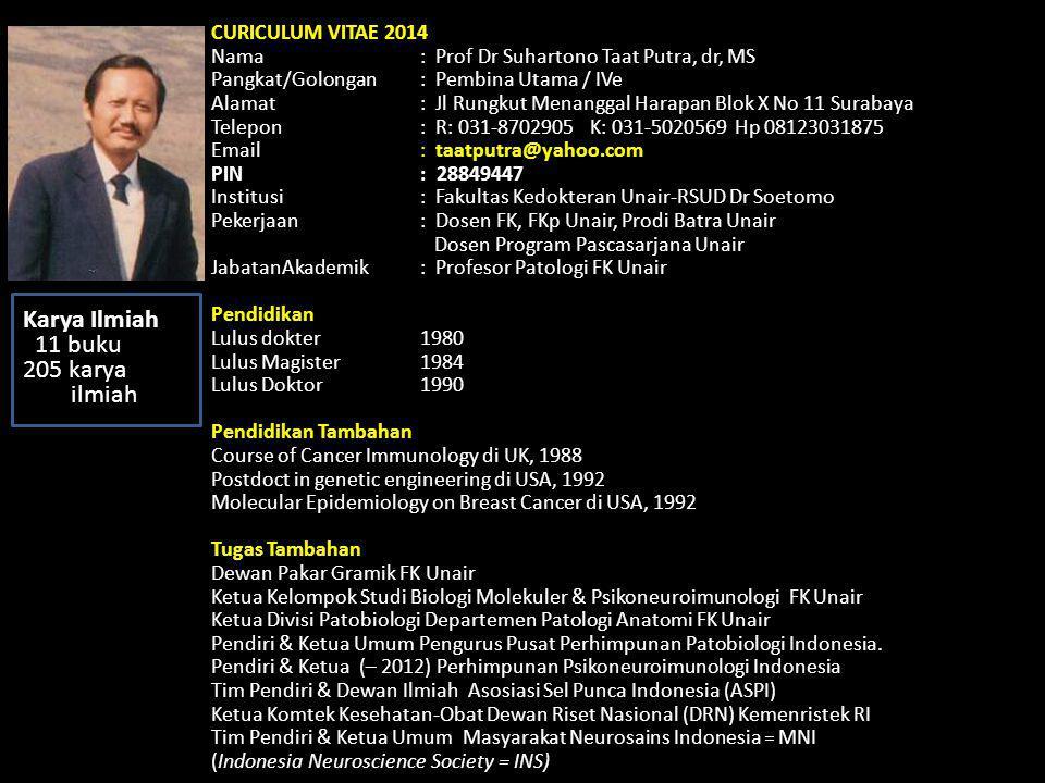 CURICULUM VITAE 2014 Nama : Prof Dr Suhartono Taat Putra, dr, MS Pangkat/Golongan : Pembina Utama / IVe Alamat: Jl Rungkut Menanggal Harapan Blok X No