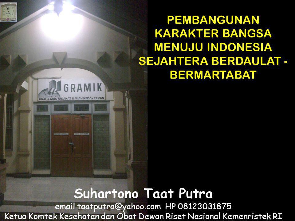 Suhartono Taat Putra email taatputra@yahoo.com HP 08123031875 Ketua Komtek Kesehatan dan Obat Dewan Riset Nasional Kemenristek RI Ketua Umum PP Masyar