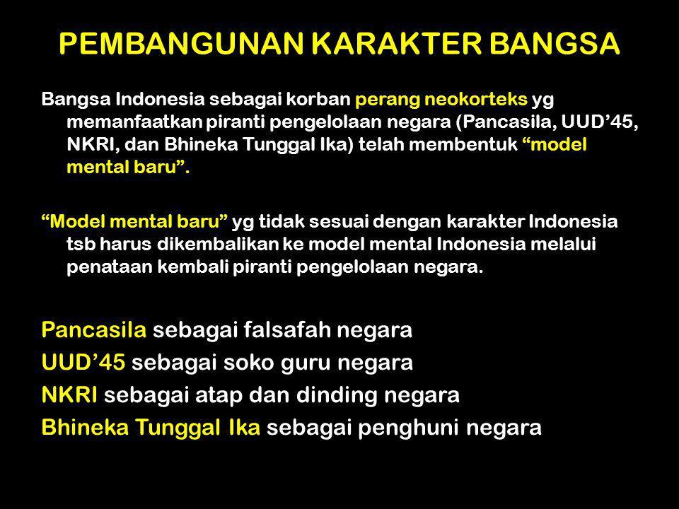 PEMBANGUNAN KARAKTER BANGSA Bangsa Indonesia sebagai korban perang neokorteks yg memanfaatkan piranti pengelolaan negara (Pancasila, UUD'45, NKRI, dan