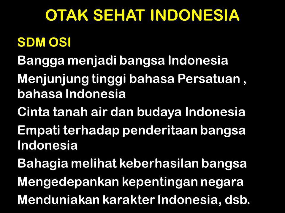 OTAK SEHAT INDONESIA SDM OSI Bangga menjadi bangsa Indonesia Menjunjung tinggi bahasa Persatuan, bahasa Indonesia Cinta tanah air dan budaya Indonesia