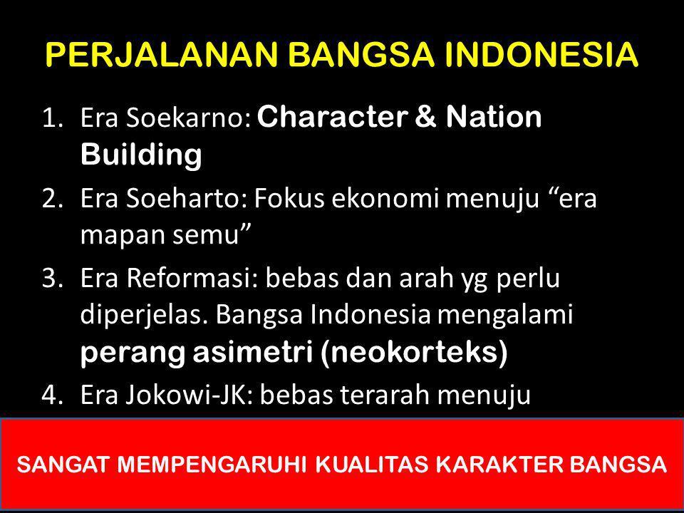 "PERJALANAN BANGSA INDONESIA 1.Era Soekarno: Character & Nation Building 2.Era Soeharto: Fokus ekonomi menuju ""era mapan semu"" 3.Era Reformasi: bebas d"