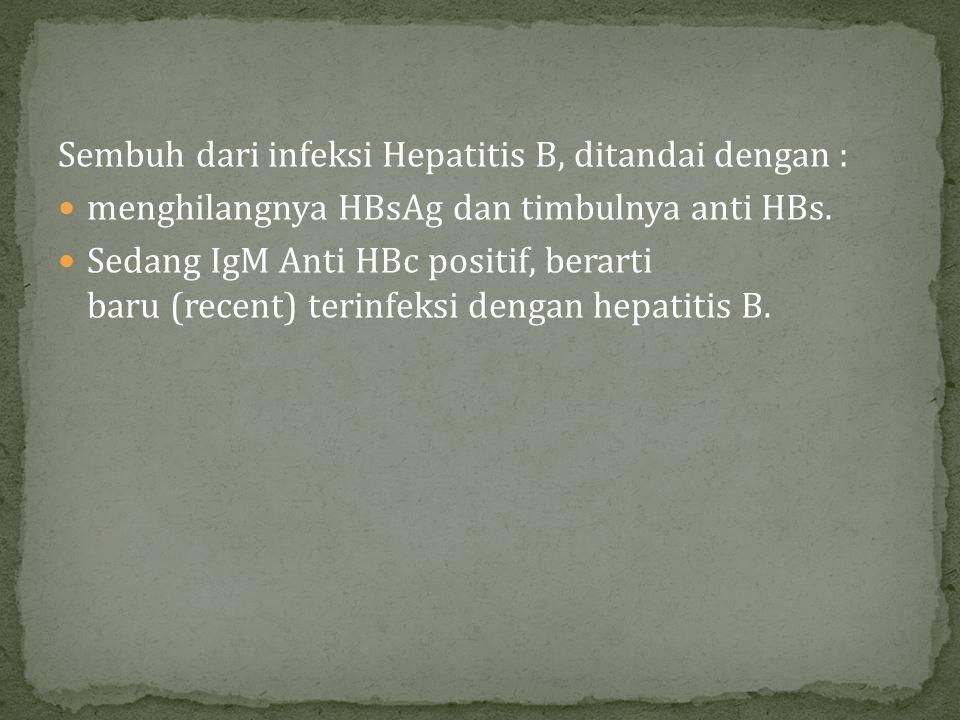 Sembuh dari infeksi Hepatitis B, ditandai dengan : menghilangnya HBsAg dan timbulnya anti HBs. Sedang IgM Anti HBc positif, berarti baru (recent) teri