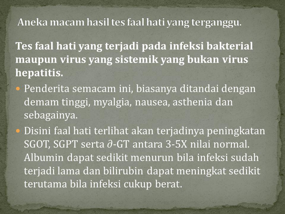 Tes faal hati pada hepatitis virus akut maupun drug induce hepatitis.