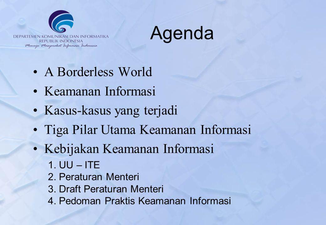 Agenda A Borderless World Keamanan Informasi Kasus-kasus yang terjadi Tiga Pilar Utama Keamanan Informasi Kebijakan Keamanan Informasi 1.