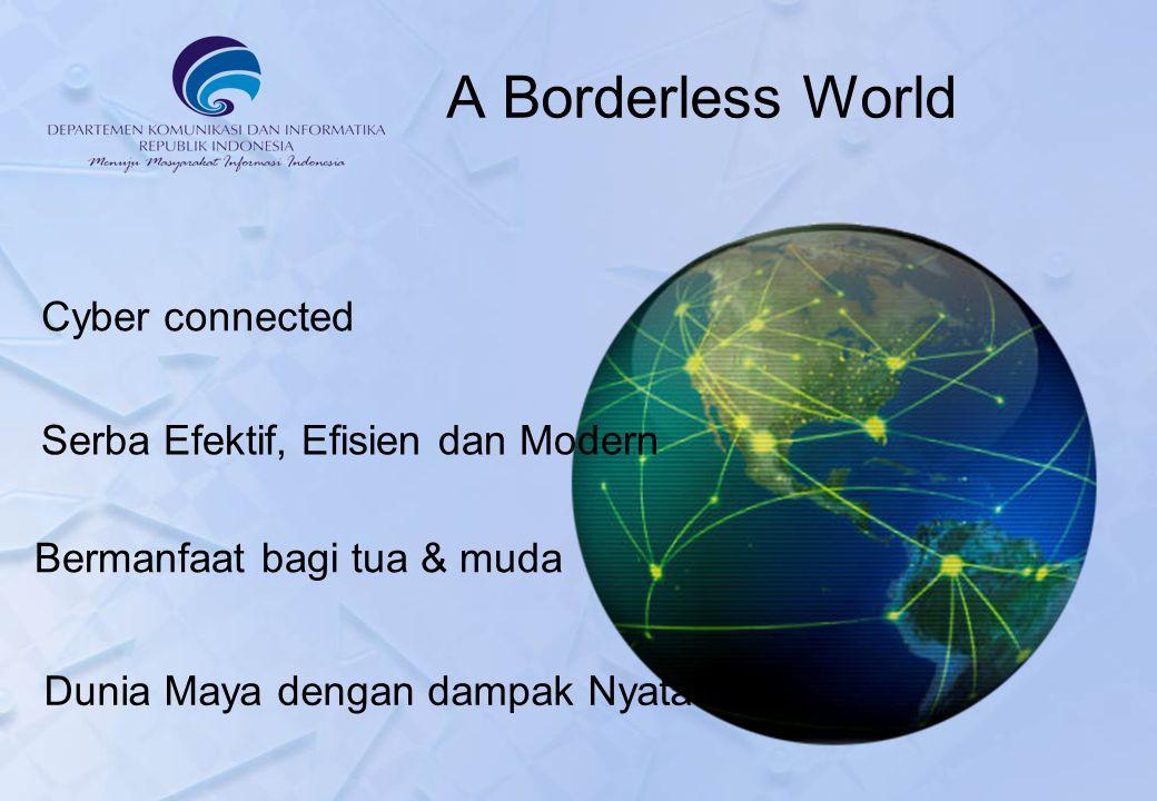 Cyber connected A Borderless World Serba Efektif, Efisien dan Modern Bermanfaat bagi tua & muda Dunia Maya dengan dampak Nyata
