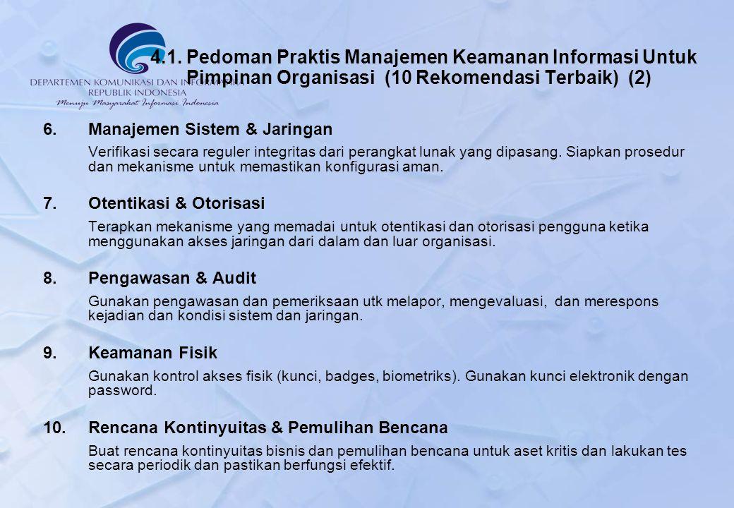4.1. Pedoman Praktis Manajemen Keamanan Informasi Untuk Pimpinan Organisasi (10 Rekomendasi Terbaik) (2) 6.Manajemen Sistem & Jaringan Verifikasi seca