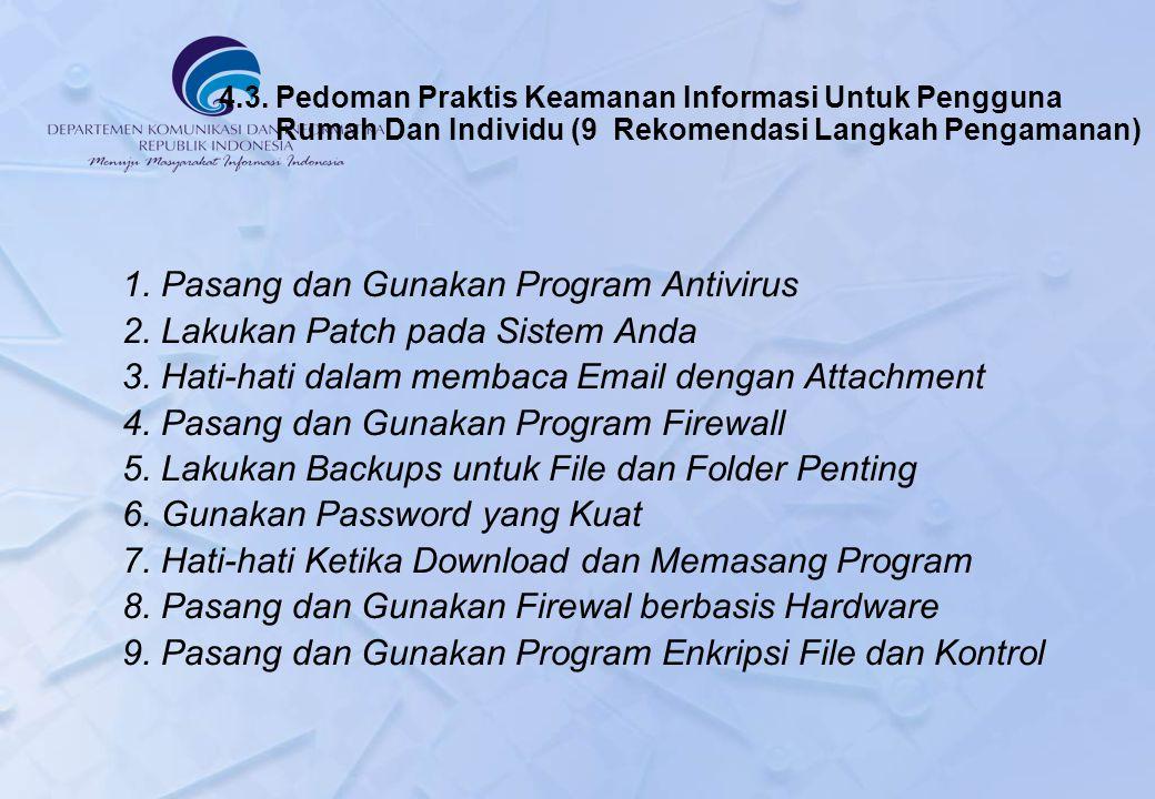 4.3. Pedoman Praktis Keamanan Informasi Untuk Pengguna Rumah Dan Individu (9 Rekomendasi Langkah Pengamanan) 1. Pasang dan Gunakan Program Antivirus 2