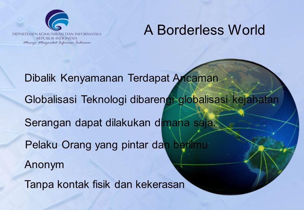 A Borderless World Dibalik Kenyamanan Terdapat Ancaman Globalisasi Teknologi dibarengi globalisasi kejahatan Pelaku Orang yang pintar dan berilmu Serangan dapat dilakukan dimana saja.
