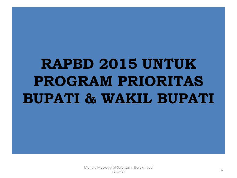RAPBD 2015 UNTUK PROGRAM PRIORITAS BUPATI & WAKIL BUPATI Menuju Masyarakat Sejahtera, Berakhlaqul Karimah 16