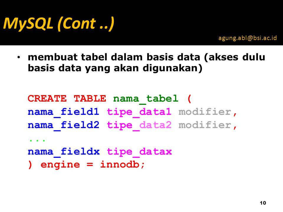 membuat tabel dalam basis data (akses dulu basis data yang akan digunakan) CREATE TABLE nama_tabel ( nama_field1 tipe_data1 modifier, nama_field2 tipe_data2 modifier,...