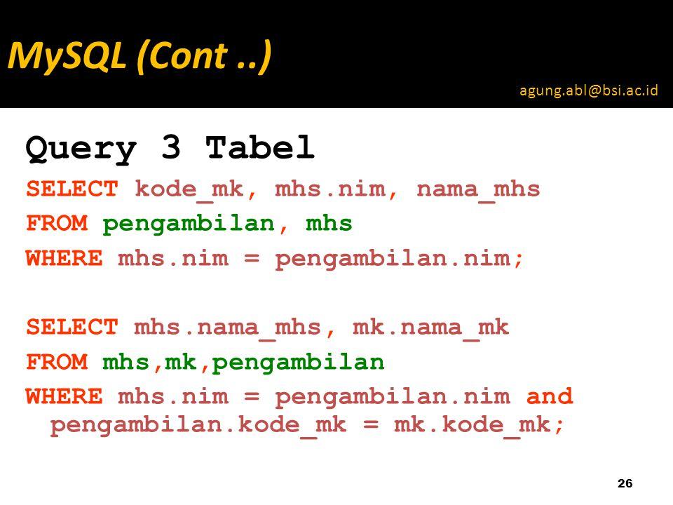 Query 3 Tabel SELECT kode_mk, mhs.nim, nama_mhs FROM pengambilan, mhs WHERE mhs.nim = pengambilan.nim; SELECT mhs.nama_mhs, mk.nama_mk FROM mhs,mk,pengambilan WHERE mhs.nim = pengambilan.nim and pengambilan.kode_mk = mk.kode_mk; 26 MySQL (Cont..) agung.abl@bsi.ac.id