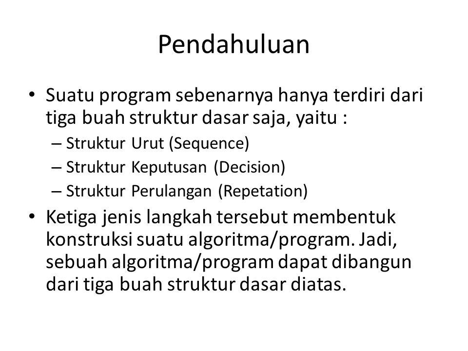 Pendahuluan Suatu program sebenarnya hanya terdiri dari tiga buah struktur dasar saja, yaitu : – Struktur Urut (Sequence) – Struktur Keputusan (Decision) – Struktur Perulangan (Repetation) Ketiga jenis langkah tersebut membentuk konstruksi suatu algoritma/program.