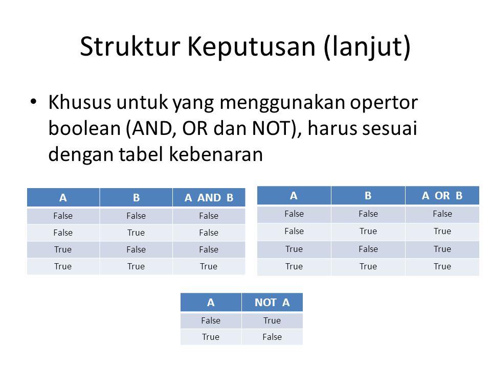 Struktur Keputusan (lanjut) Khusus untuk yang menggunakan opertor boolean (AND, OR dan NOT), harus sesuai dengan tabel kebenaran ABA AND B False TrueFalse TrueFalse True ABA OR B False True FalseTrue ANOT A FalseTrue False