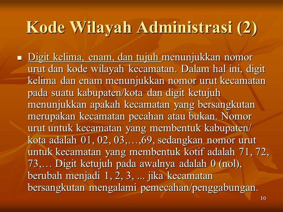 10 Kode Wilayah Administrasi (2) Digit kelima, enam, dan tujuh menunjukkan nomor urut dan kode wilayah kecamatan. Dalam hal ini, digit kelima dan enam