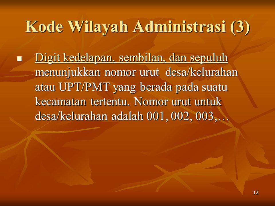 12 Kode Wilayah Administrasi (3) Digit kedelapan, sembilan, dan sepuluh menunjukkan nomor urut desa/kelurahan atau UPT/PMT yang berada pada suatu keca