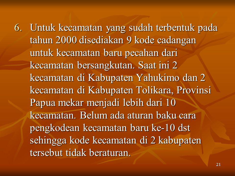 21 6.Untuk kecamatan yang sudah terbentuk pada tahun 2000 disediakan 9 kode cadangan untuk kecamatan baru pecahan dari kecamatan bersangkutan. Saat in