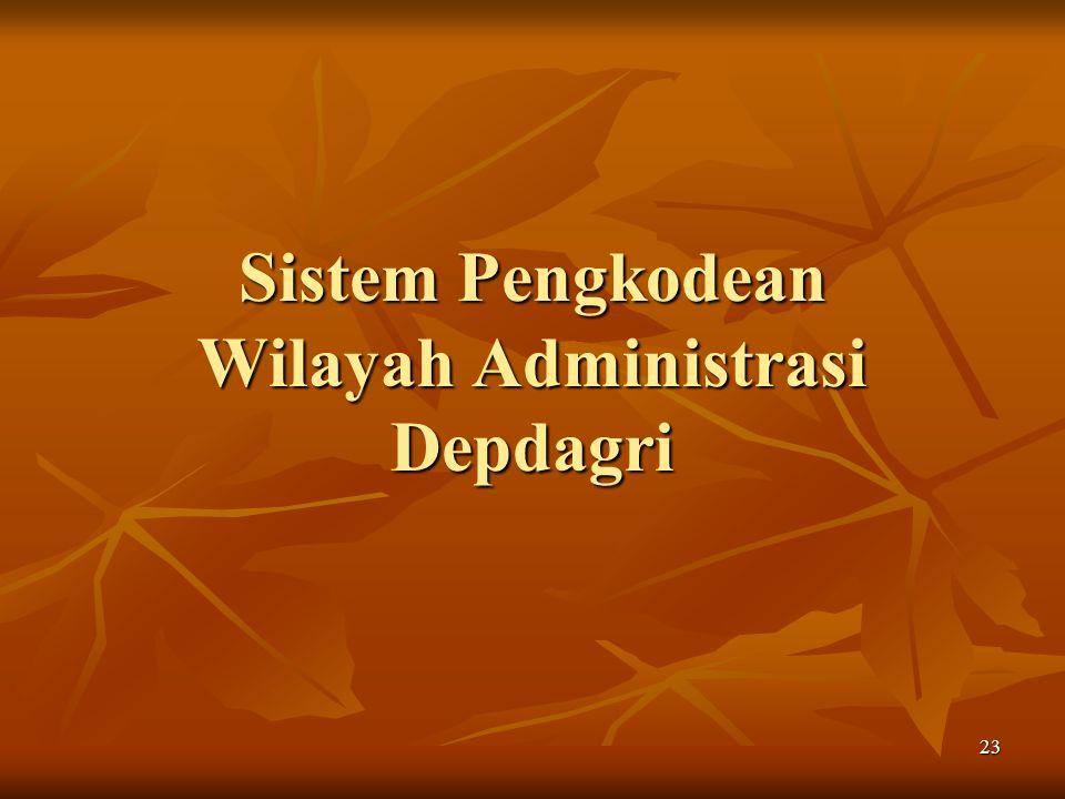 23 Sistem Pengkodean Wilayah Administrasi Depdagri