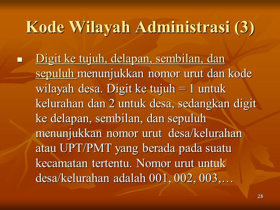 28 Kode Wilayah Administrasi (3) Digit ke tujuh, delapan, sembilan, dan sepuluh menunjukkan nomor urut dan kode wilayah desa. Digit ke tujuh = 1 untuk