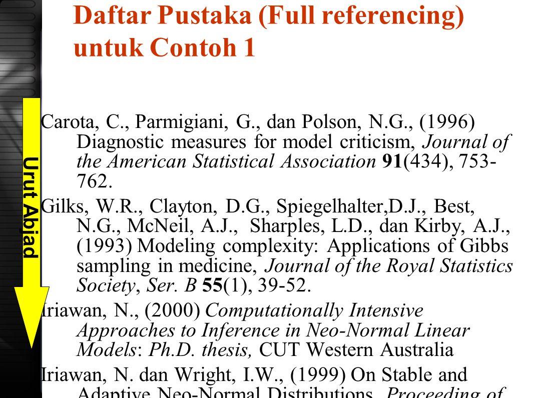Daftar Pustaka (Full referencing) untuk Contoh 1 Carota, C., Parmigiani, G., dan Polson, N.G., (1996) Diagnostic measures for model criticism, Journal