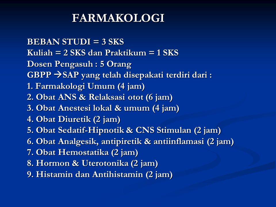 FARMAKOLOGI BEBAN STUDI = 3 SKS Kuliah = 2 SKS dan Praktikum = 1 SKS Dosen Pengasuh : 5 Orang GBPP  SAP yang telah disepakati terdiri dari : 1. Farma