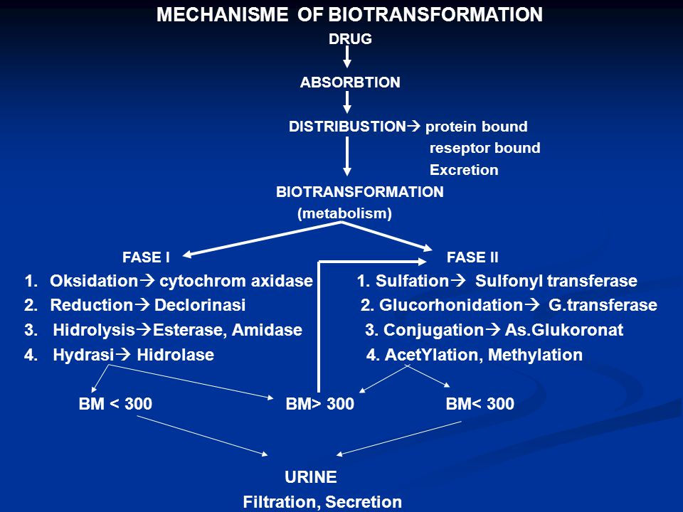 MECHANISME OF BIOTRANSFORMATION DRUG ABSORBTION DISTRIBUSTION  protein bound reseptor bound Excretion BIOTRANSFORMATION (metabolism) FASE I FASE II 1